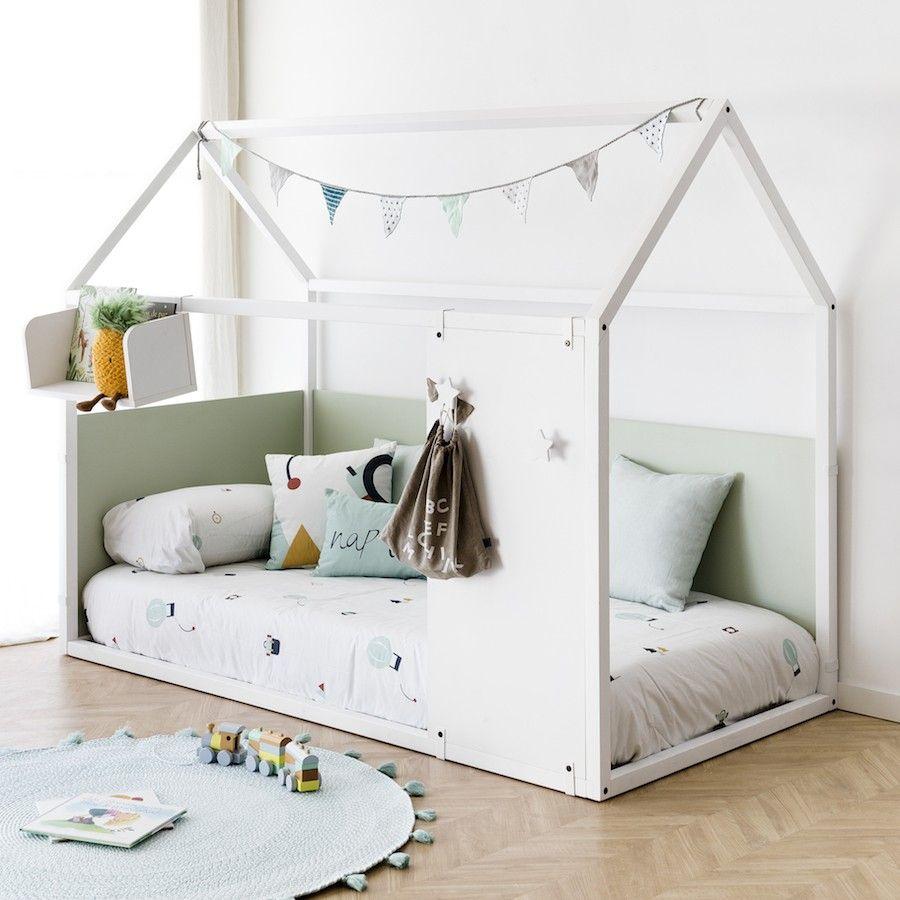 Cama casita con perchero estrellas 2 colores