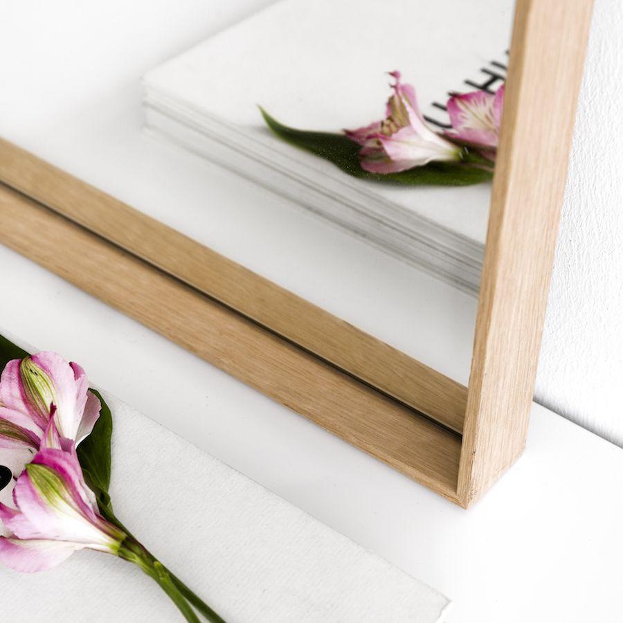Espelho Basic de carvalho 90x60