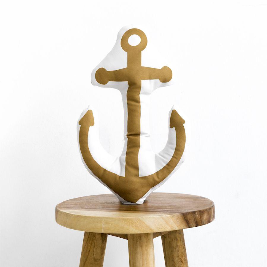 Navy âncora almofada