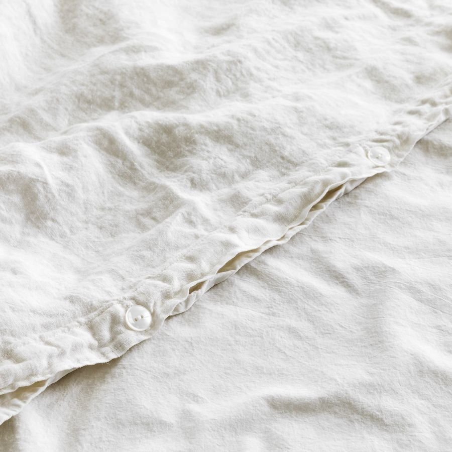Lino funda nórdica blanco piedra