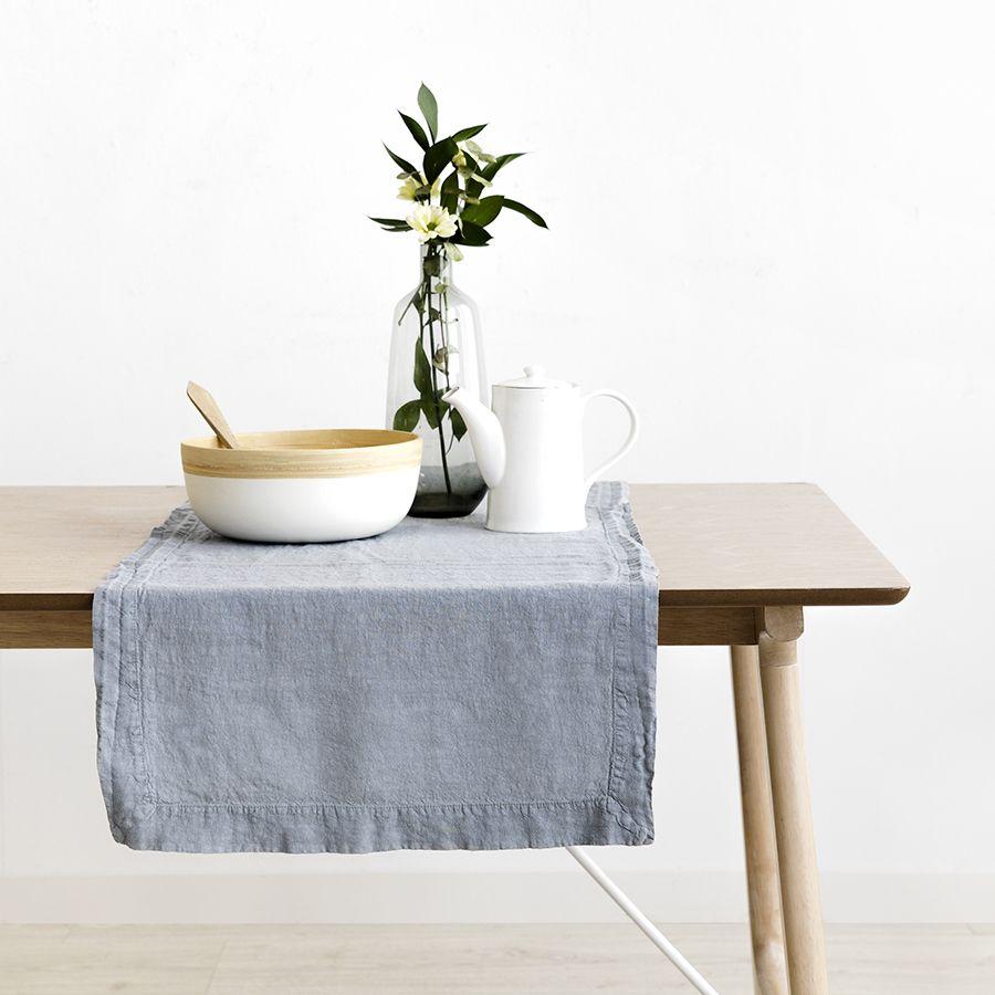 Lino camino de mesa gris