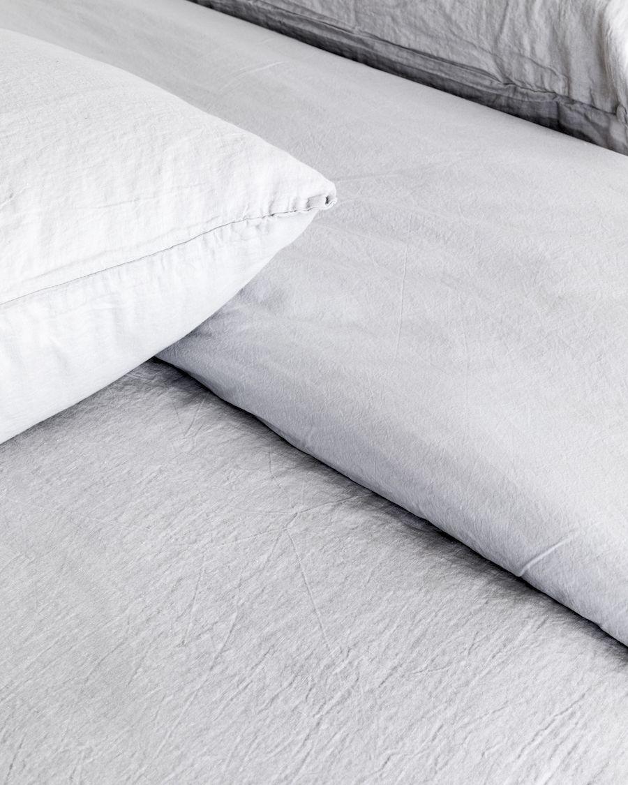 Lino funda nórdica gris claro mediano