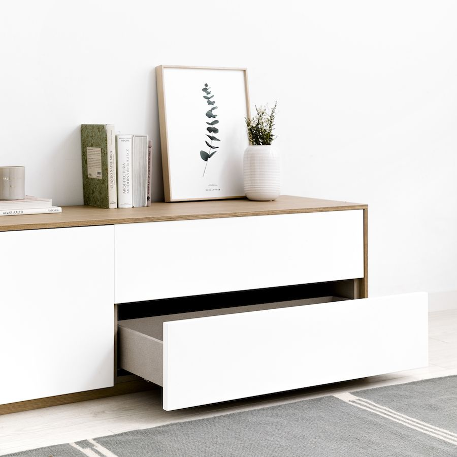 Unite mueble de TV 200 cm blanco y roble