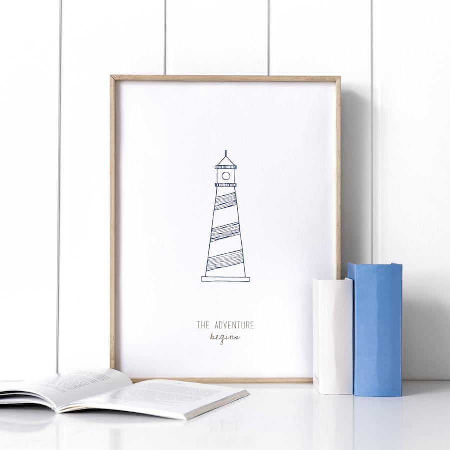 Navy lighthouse lámina 21x30 cm