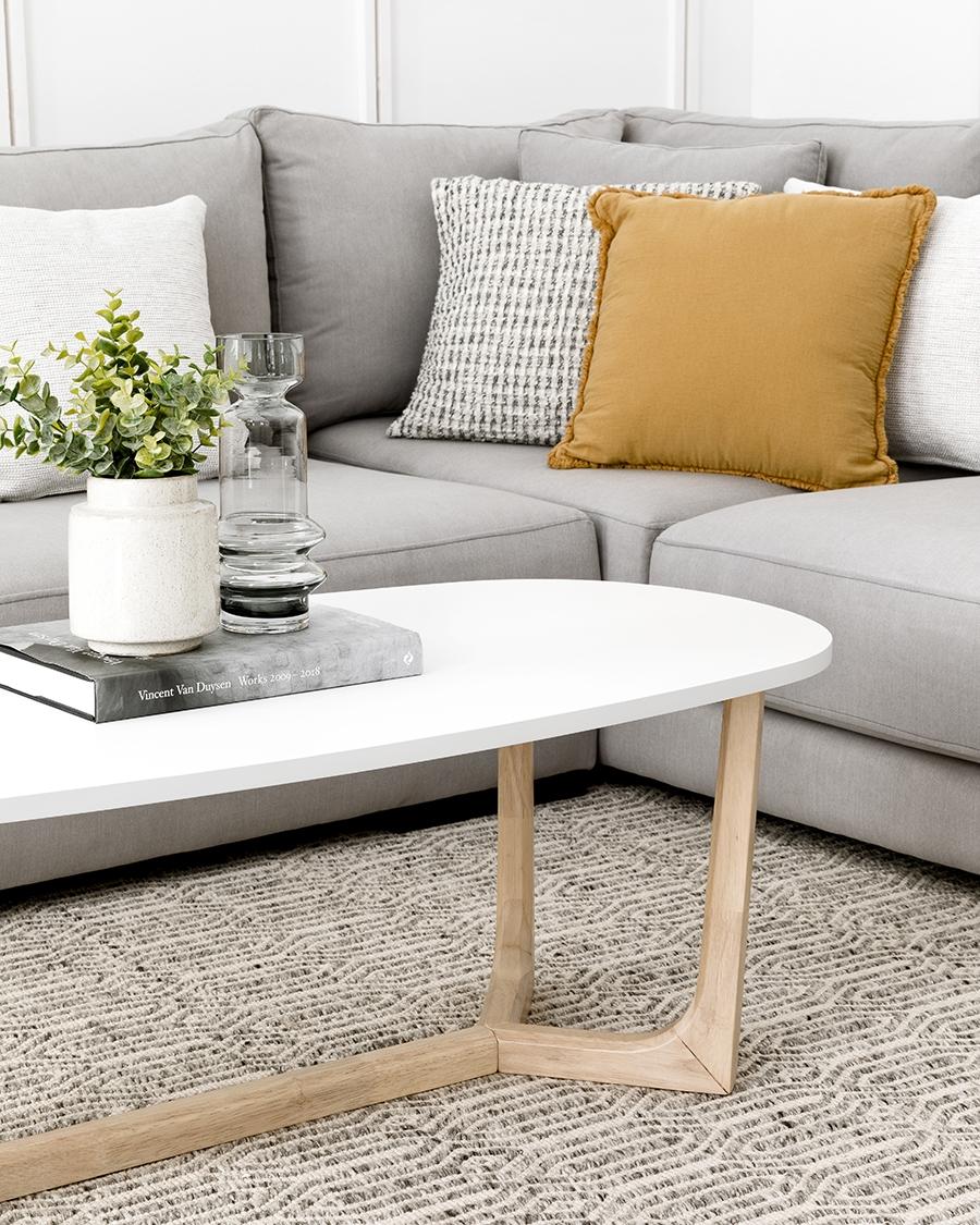 Oval mesa de centro blanca 120
