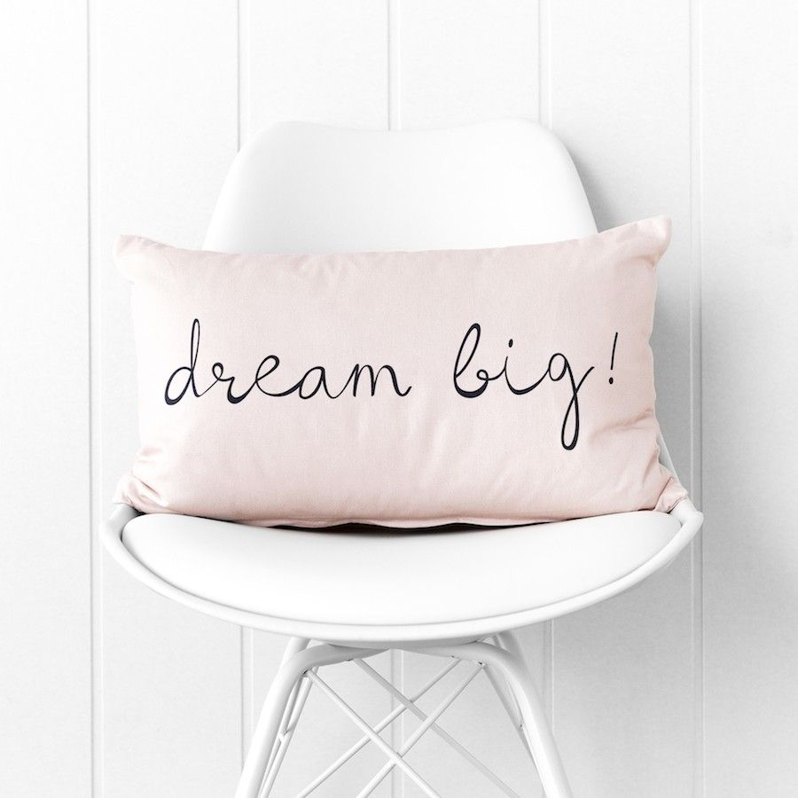 Dream big cuscino rosa 30x50
