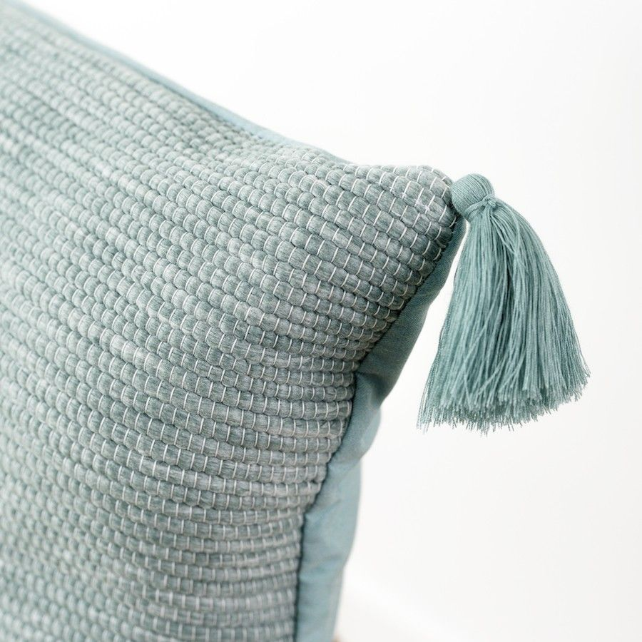 Pompon cuscino Mineral Blue 40x40